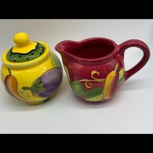 Laurie Gates China Sugar and Creamer Handpainted